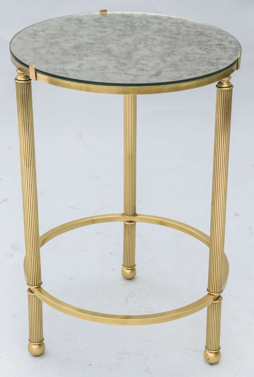 Round Brass Accent Table With Mirrored Top At 1stdibs