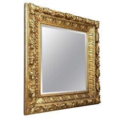 Elaborate Foliate Giltwood 19c. Baroque Mirror
