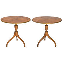 Pair of Baker Round Pedestal End Tables