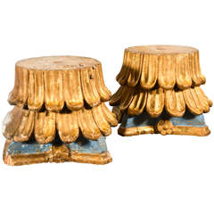 18th C. Pair of painted capitals