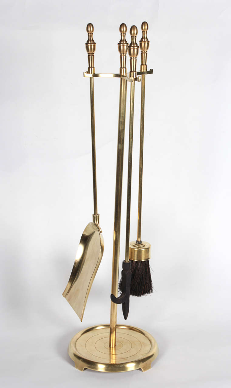 polished brass fireplace tool set for sale at 1stdibs