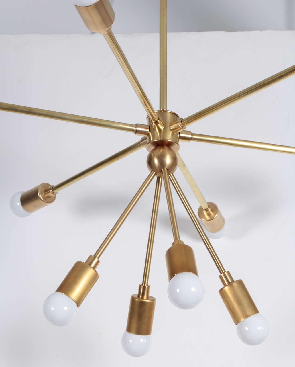 Mid-Century Modern Custom Macomber Modern Brass Sputnik Light Fixture For Sale