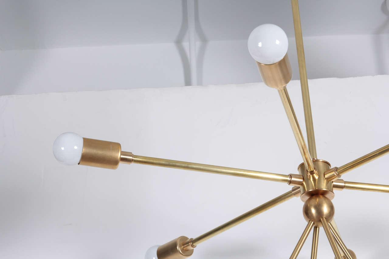 American Custom Macomber Modern Brass Sputnik Light Fixture For Sale