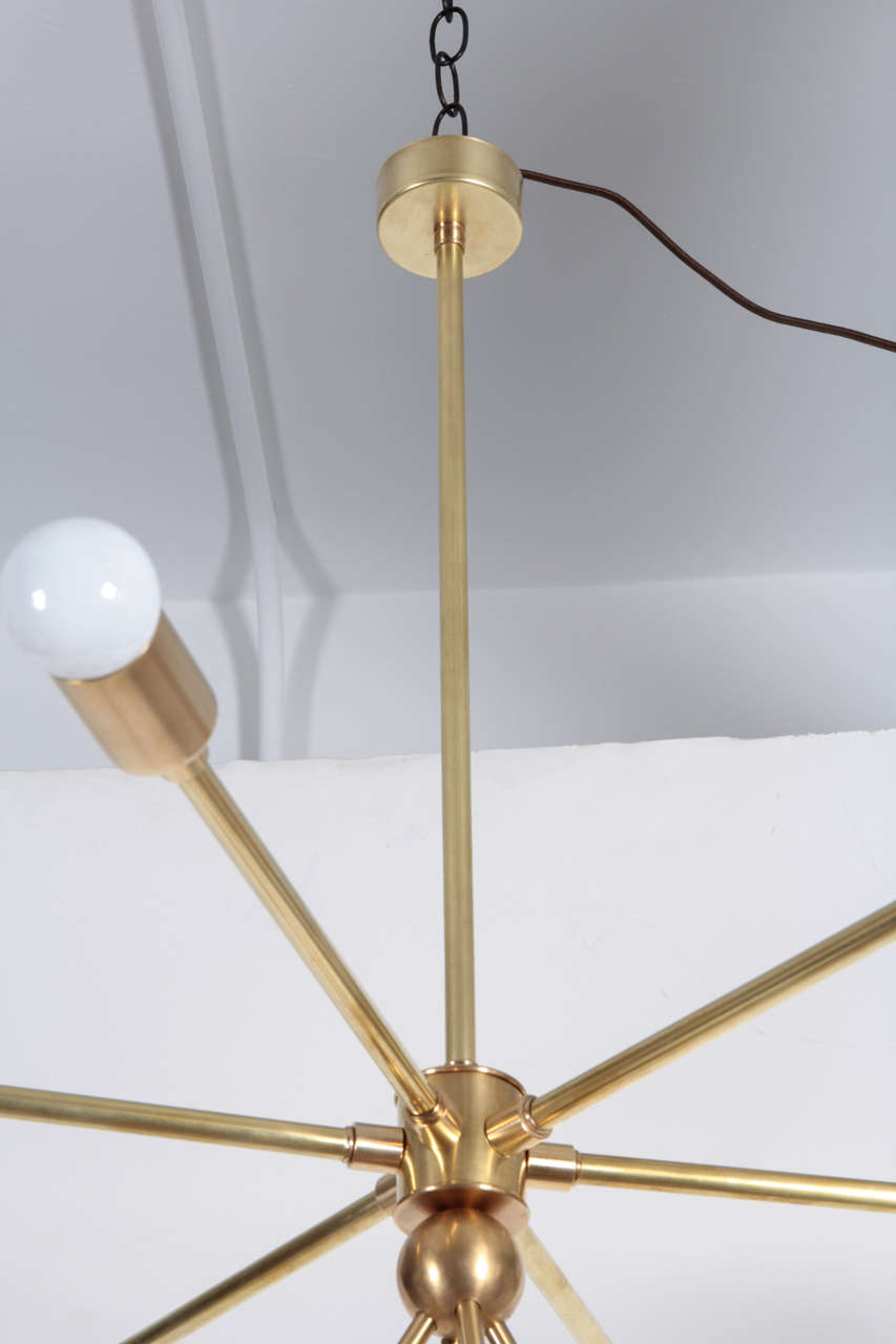 Custom Macomber Modern Brass Sputnik Light Fixture In Excellent Condition For Sale In New York, NY