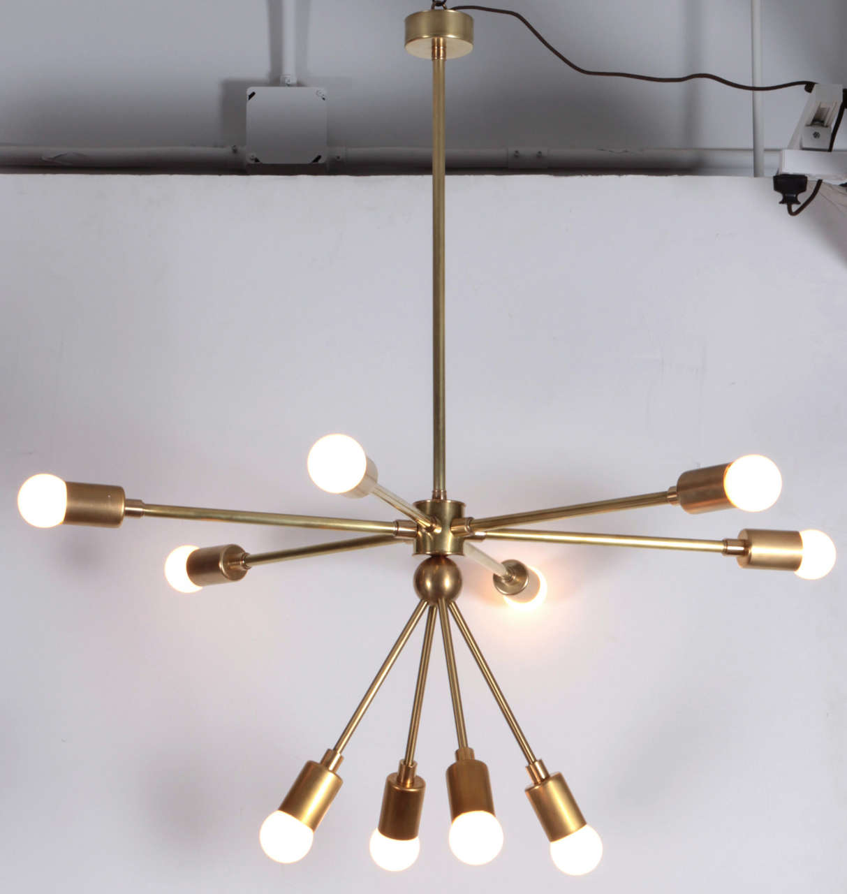 Contemporary Custom Macomber Modern Brass Sputnik Light Fixture For Sale