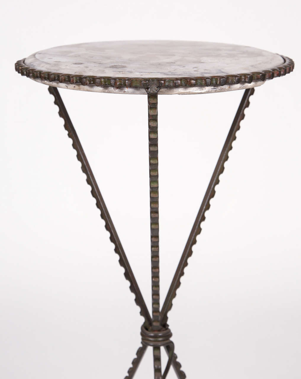 Pair of wrought iron round end tables with marble tops at for Wrought iron table bases marble top