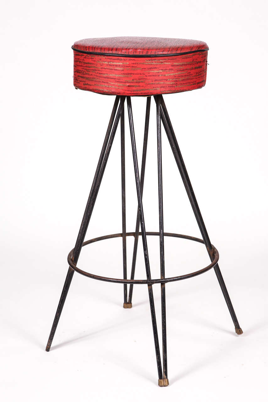 1950s Red Vinyl Stools With Hairpin Legs For Sale At 1stdibs
