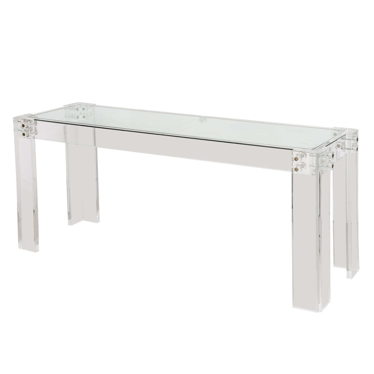 Vintage Lucite Console Table With Glass Top