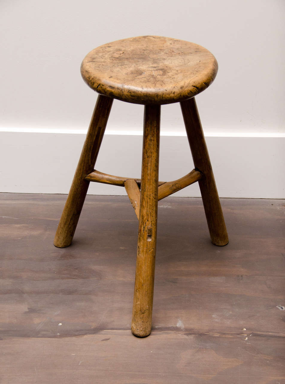 Excellent Wooden Farm Stool At 1Stdibs Creativecarmelina Interior Chair Design Creativecarmelinacom