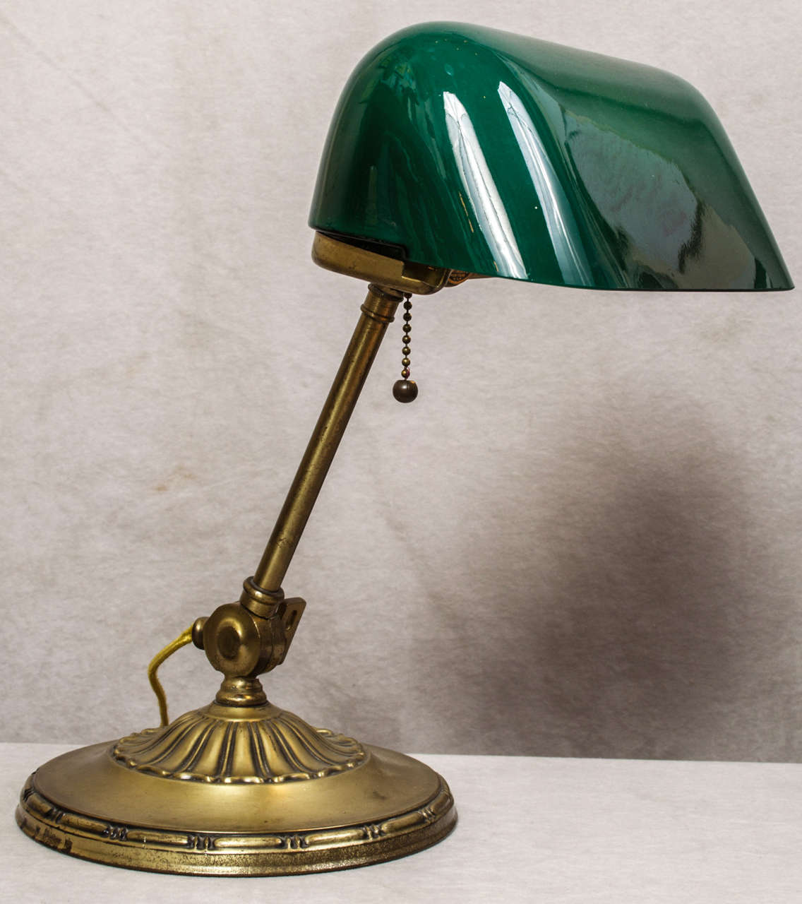 banker 39 s lamp with green cased glass shade at 1stdibs. Black Bedroom Furniture Sets. Home Design Ideas