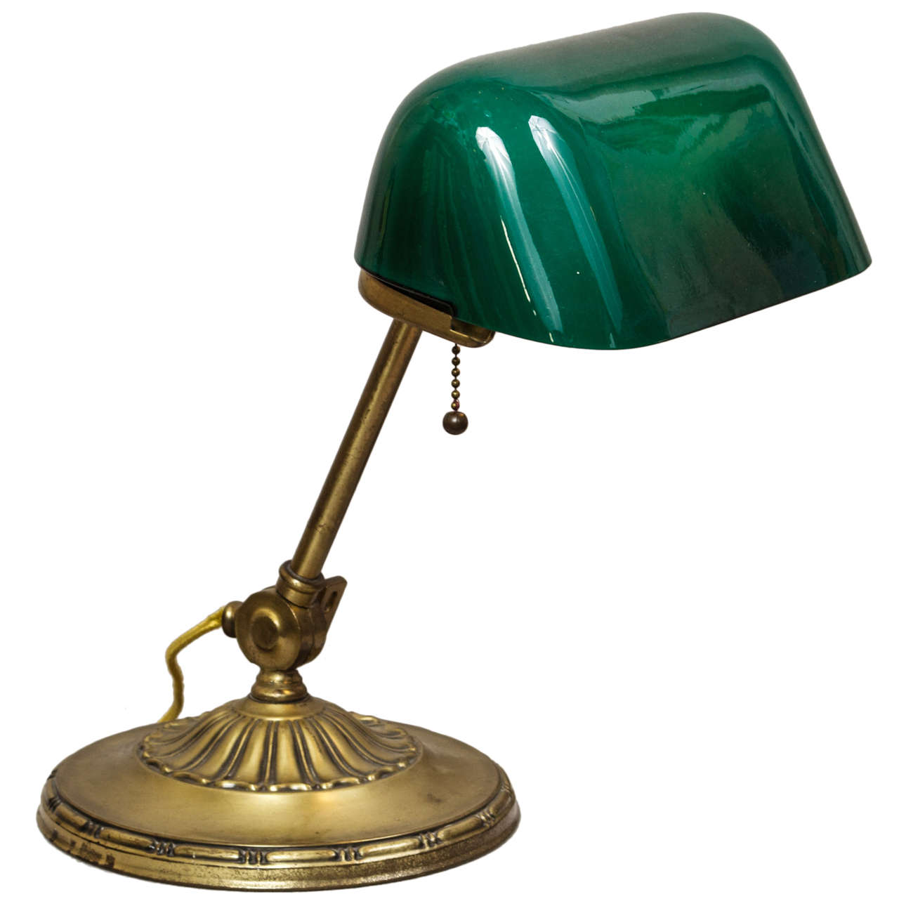 Banker S Lamp With Green Cased Glass Shade At 1stdibs