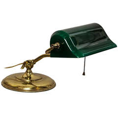 Banker's Desk Lamp with Cased Green Glass Shade