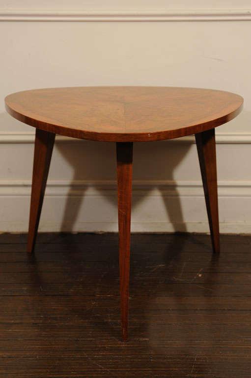 Solid Walnut, walnut veneer, triangle top small Table