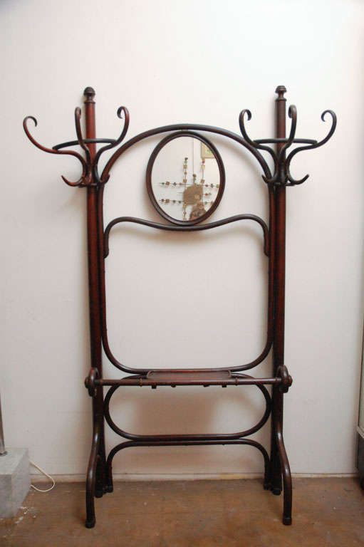Thonet Coat Rack/stand  / Hall Tree And Mirror In Bentwood image 2