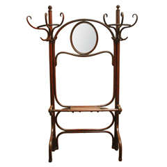 Thonet Coat Rack/stand  / Hall Tree And Mirror In Bentwood