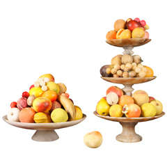 A Fine Collection of Carved & Painted Marble Fruit with Compotes