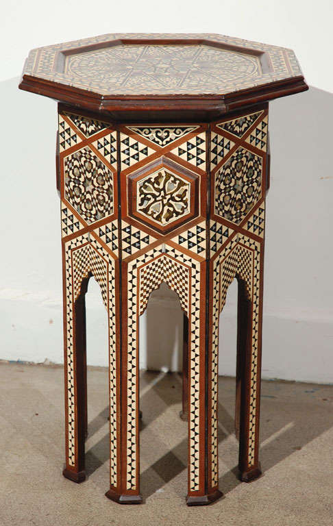 Moorish Syrian Octagonal Pedestal Table Inlaid with Mother of Pearl 2