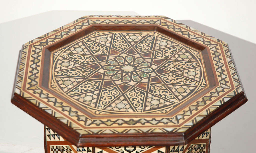 Moorish Syrian Octagonal Pedestal Table Inlaid with Mother of Pearl 3