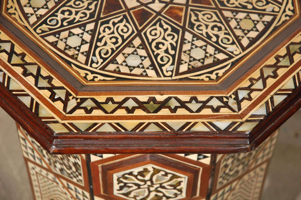 Moorish Syrian Octagonal Pedestal Table Inlaid with Mother of Pearl 5