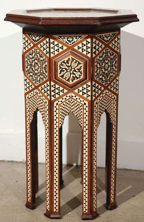 Moorish Syrian Octagonal Pedestal Table Inlaid with Mother of Pearl 6