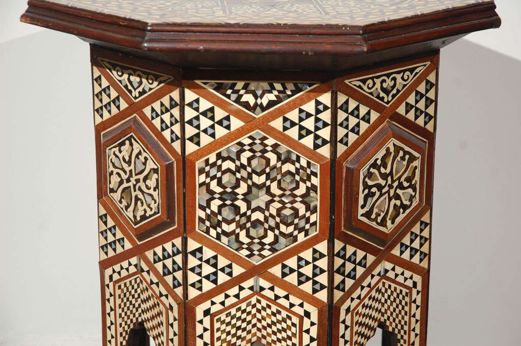 Moorish Syrian Octagonal Pedestal Table Inlaid with Mother of Pearl 7