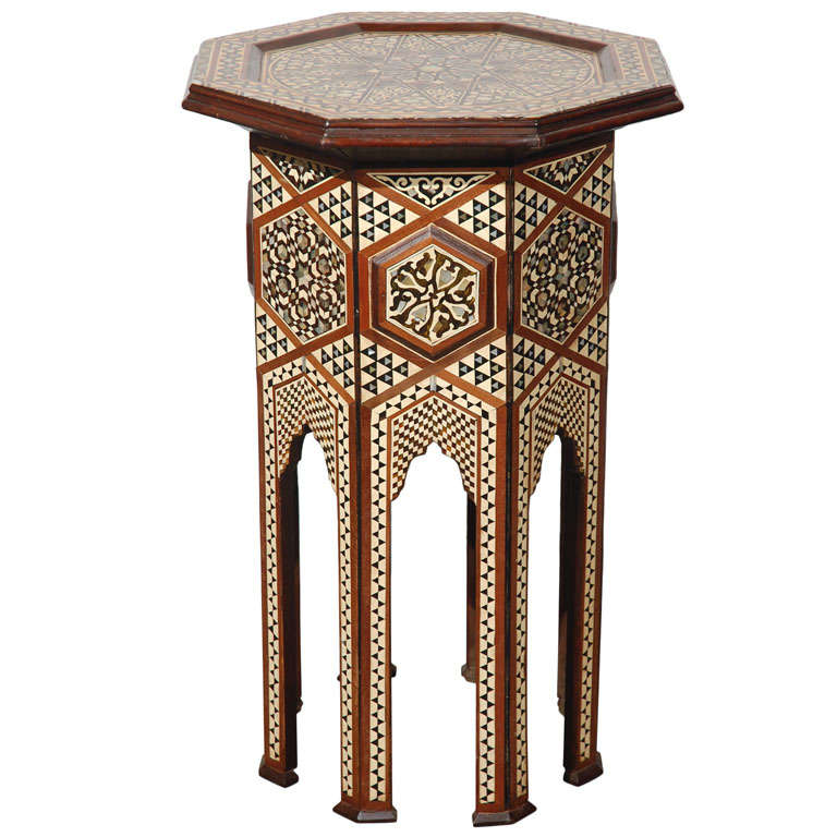 Moorish Syrian Octagonal Pedestal Table Inlaid with Mother of Pearl 1