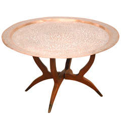 Islamic Middle Eastern Copper Tray Table With Calligraphy