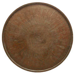"""Middle Eastern Persian Bronze Round Tray 54"""" Diameter"""