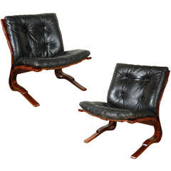 Pair of Solheim-attributed Black Leather Chairs