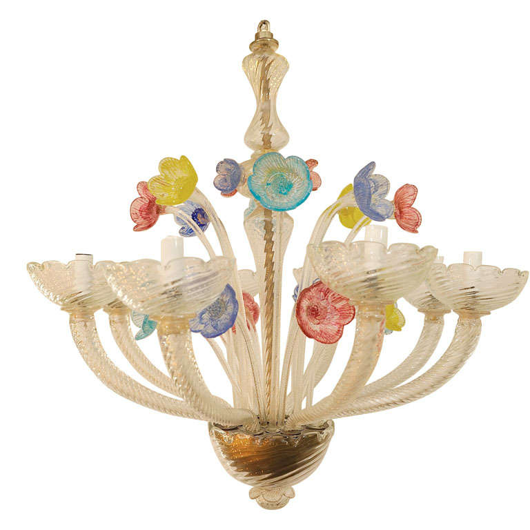 Vintage Eight Light Murano Chandelier After Barovier At