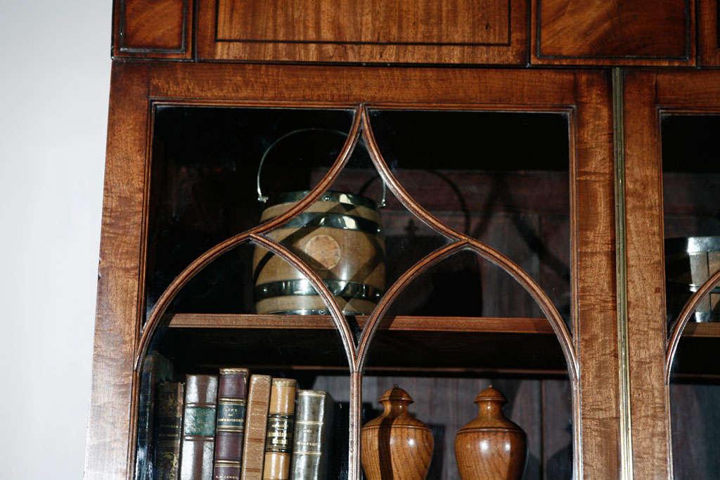 Edwardian 1840s English Mahogany Secretary Bookcase For Sale