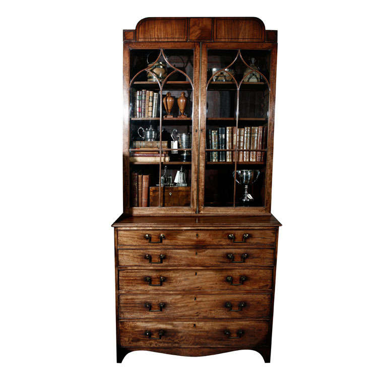 1840s English Mahogany Secretary Bookcase