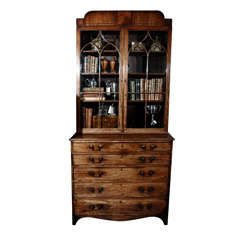 1840s English Mahogany Secretary Bookcase
