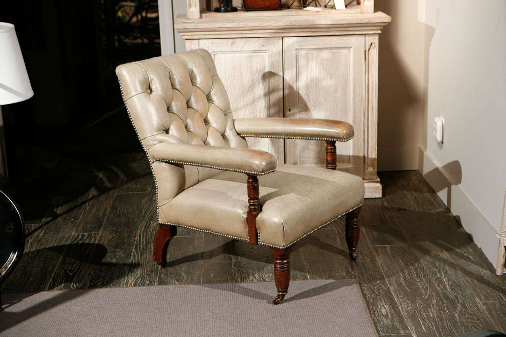 English Leather Open Arm Chair Circa 1870 At 1stdibs