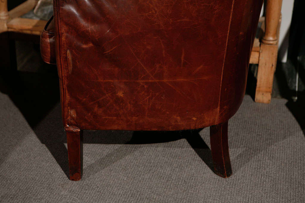 Pair of French Leather Arm Chairs, Circa 1900 image 5