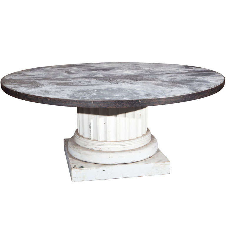 round zinc top table for sale at 1stdibs