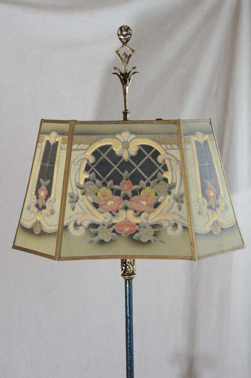 wrought iron floor lamp with colorful metal mesh shade at 1stdibs. Black Bedroom Furniture Sets. Home Design Ideas