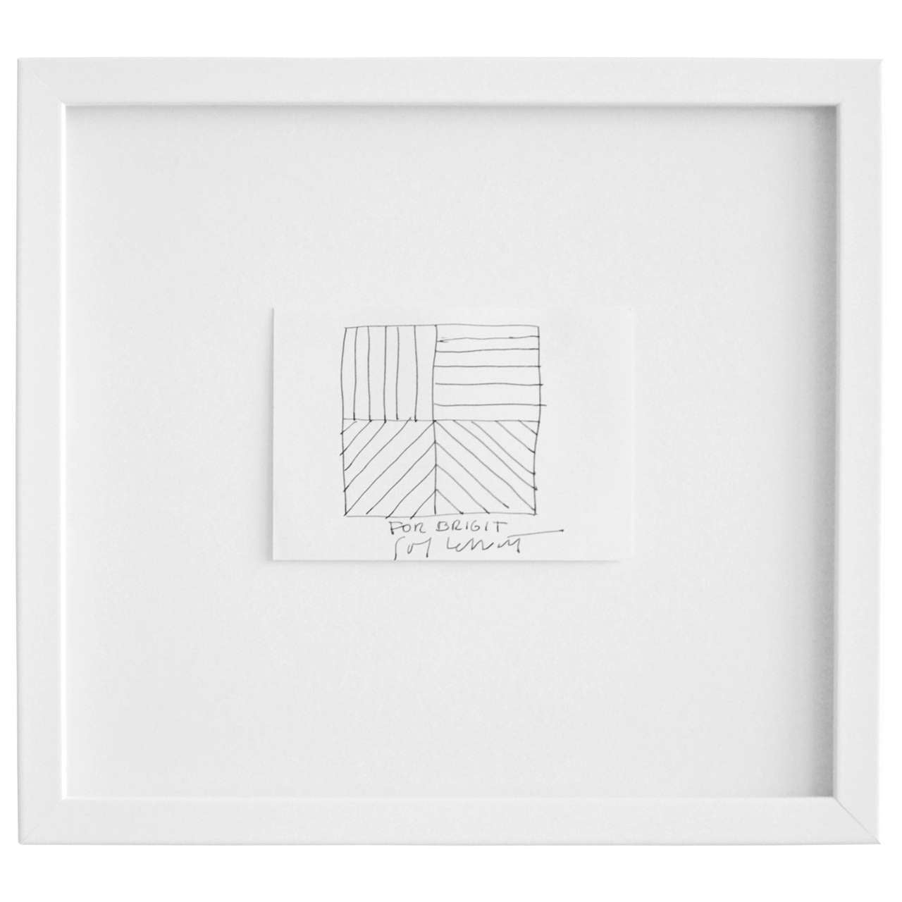 An intimate, geometric drawing on paper by the influential American artist Sol LeWitt (1928-2007) of a square divided into four equal parts. In each section he has drawn lines in all four possible directions, vertical, horizontal, diagonal left and