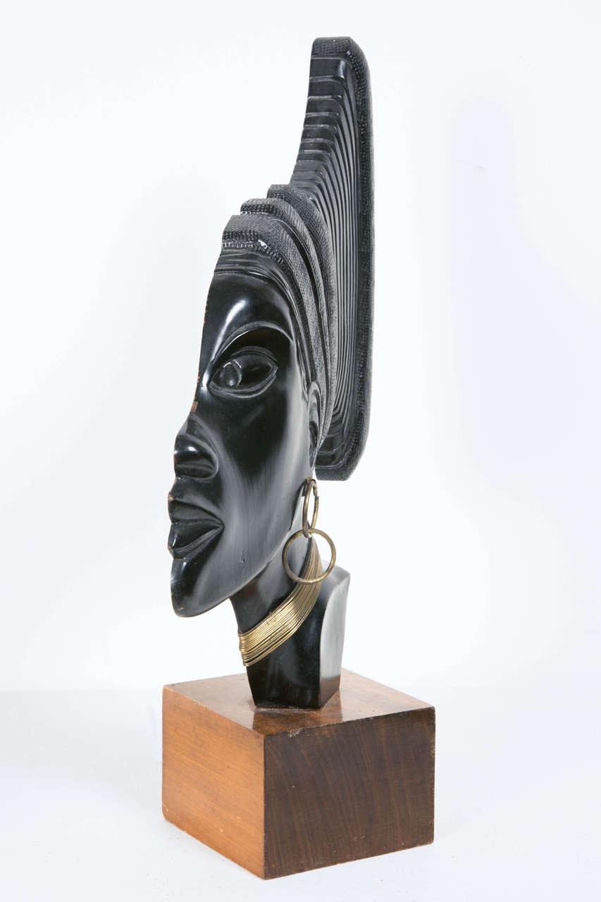 Wood Art Deco Profile of an African Woman, circa 1930