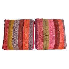 Floor Pillow Made from Wool Rugs from Peru and Trimmed in Leather, 2014