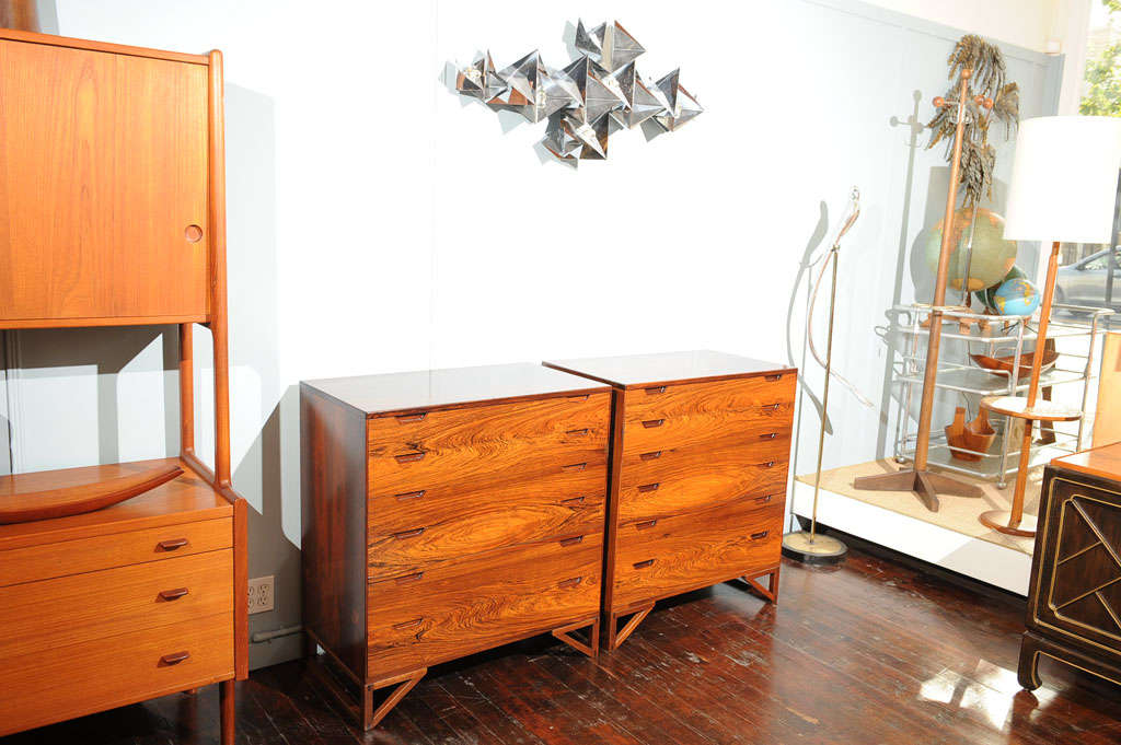 Danish Pair of Svend Langekilde Rosewood Chests For Sale