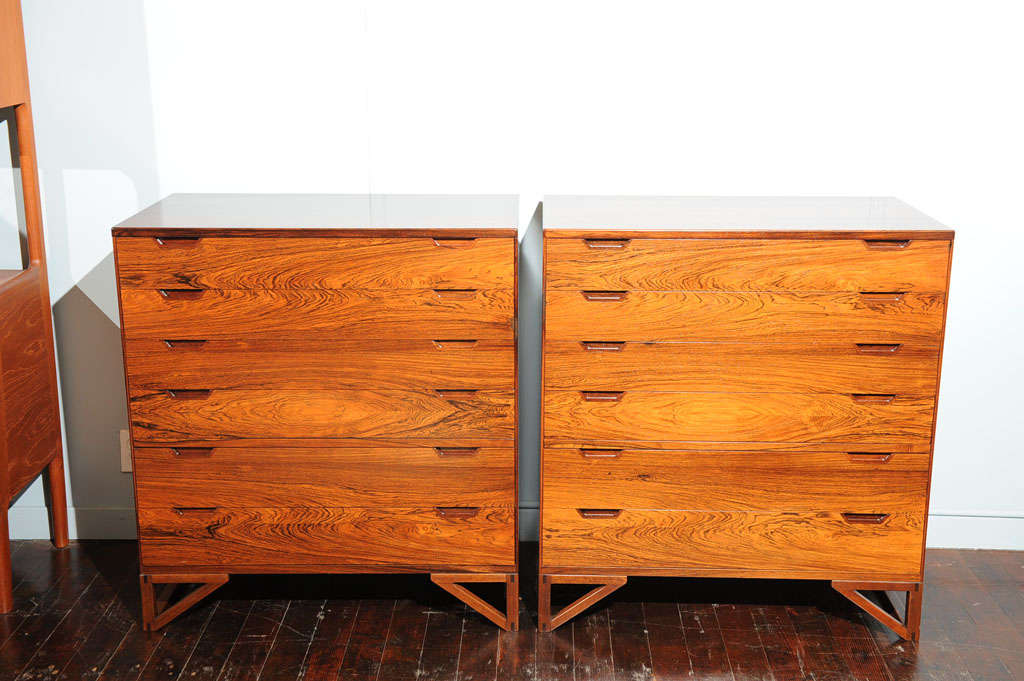 Pair of Svend Langekilde Rosewood Chests In Excellent Condition For Sale In San Francisco, CA