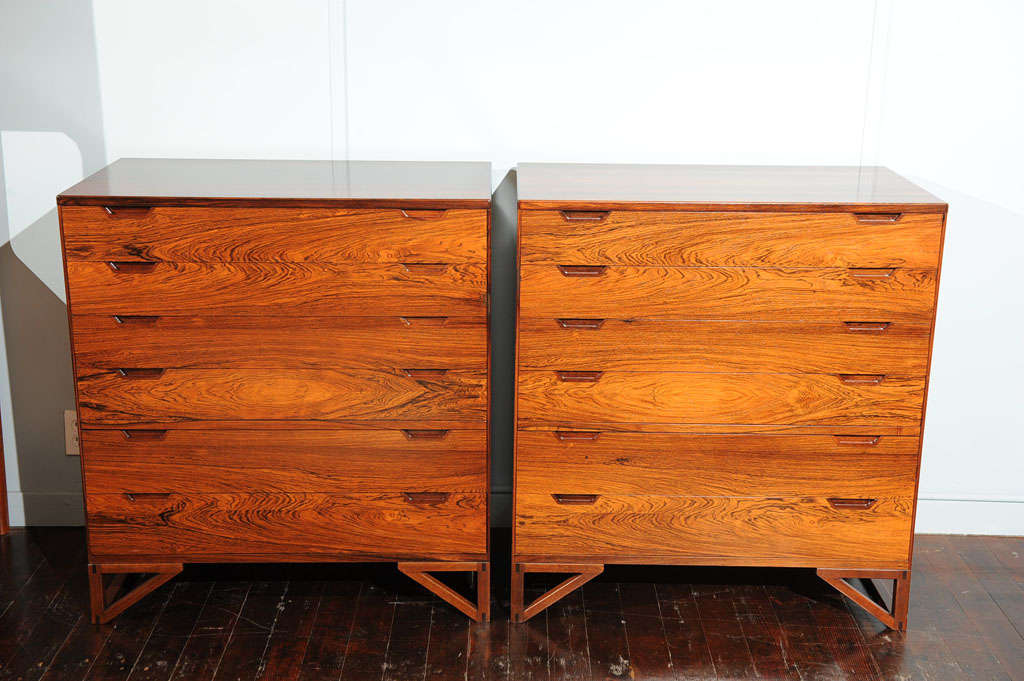 Mid-20th Century Pair of Svend Langekilde Rosewood Chests For Sale