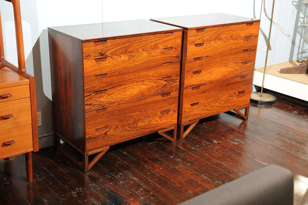 Exceptional pair of rosewood Danish chests designed by Svend Langekilde, completely restored.