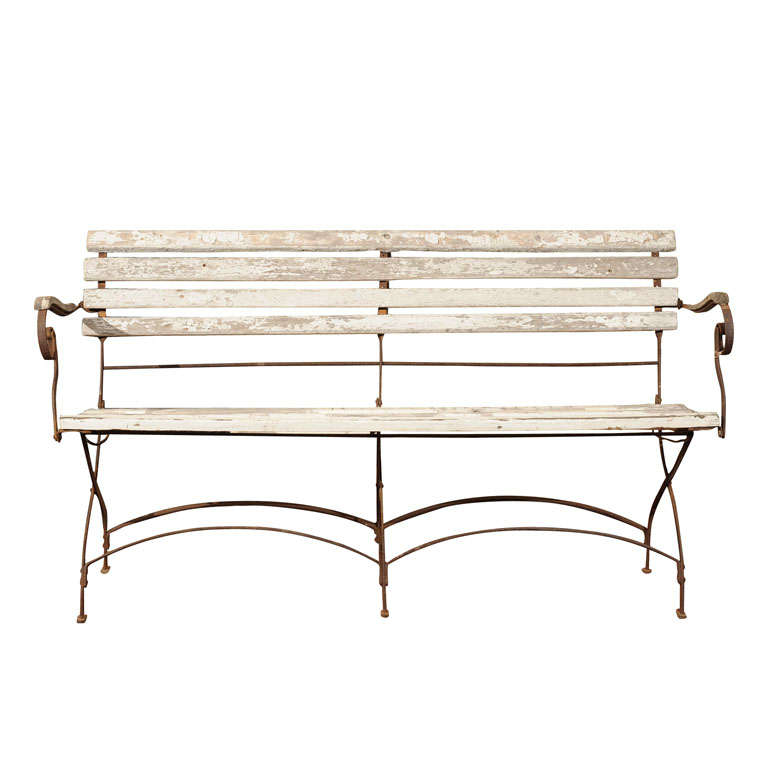 Victorian Wrought Iron Folding Garden Bench At 1stdibs