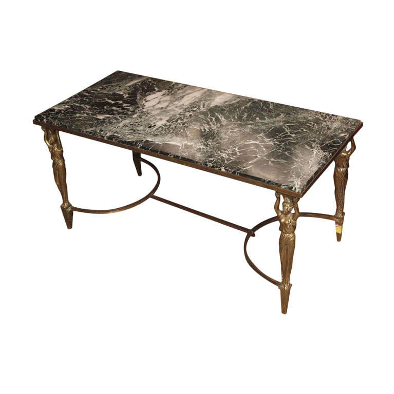 Coffee Table With Green Marble Top At 1stdibs