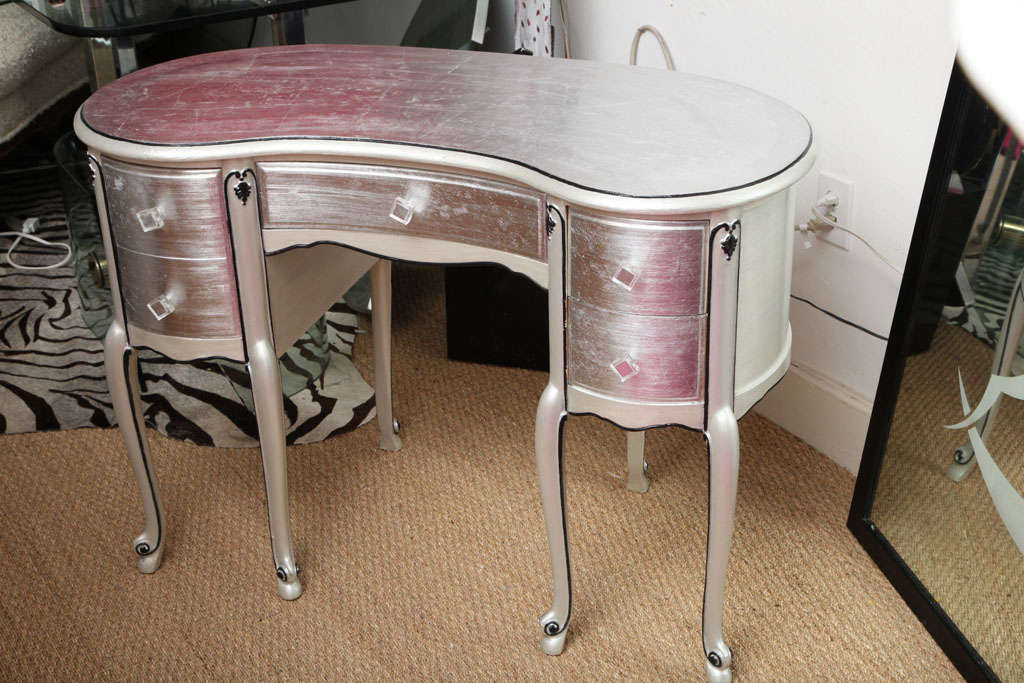 American Silver Leaf French Style Kidney Shape Vanity Desk For