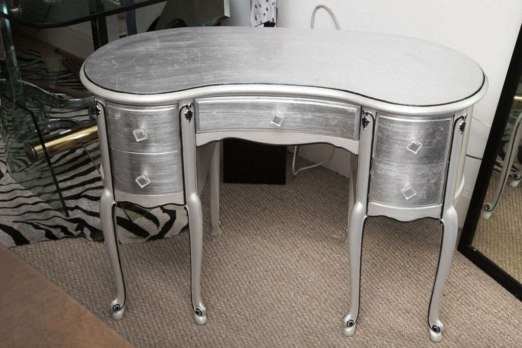 Silver leaf french style kidney shape vanity desk at 1stdibs for Silver vanity table