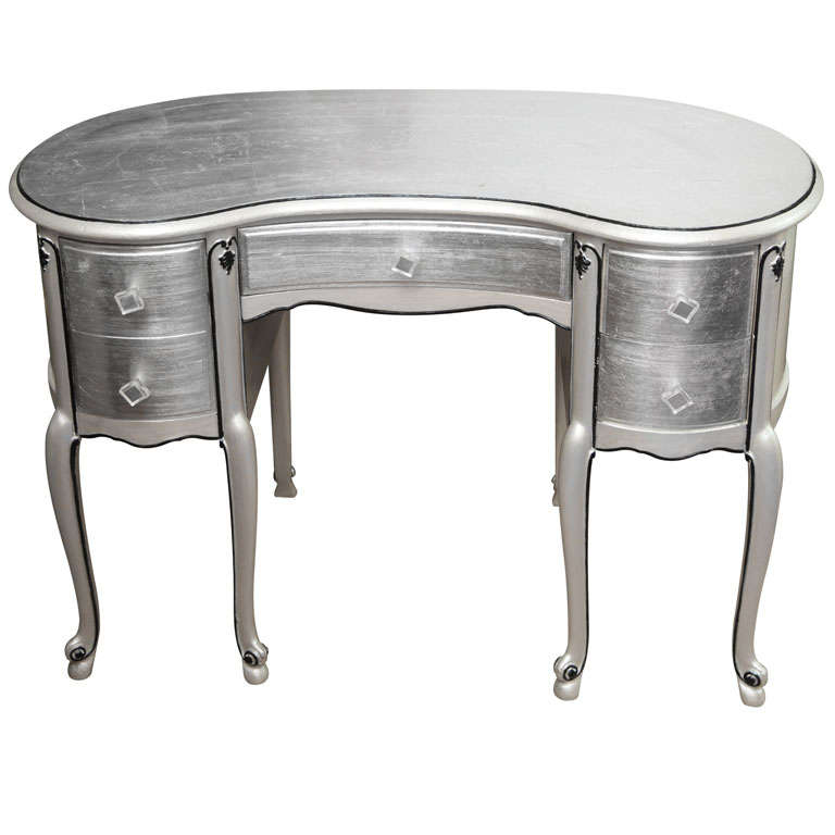 Silver leaf french style kidney shape vanity desk at 1stdibs for Kidney desk for sale