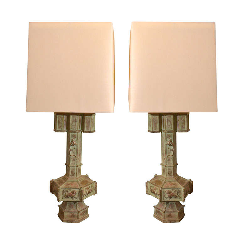 Exquisite Pair of Lizard Lamps by James Mont